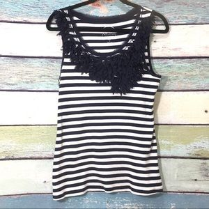 INC Striped Scoop Neck Sheer Petal Accent Tank Top